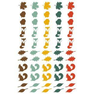 55 epoxy stickers for scrapbooking Autumn - Leaves, foxes and squirrels