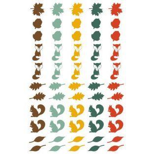 55 stickers epoxy pour scrapbooking Automne - Feuilles, renards et écureuils