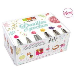 Pastry box - 6 stainless steel nozzles and disposable icing bags
