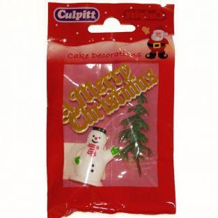 Sujets de décorations pour gâteaux de Noël - Merry Christmas doré