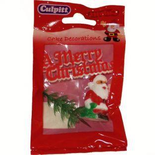 Sujets de décorations pour gâteaux de Noël - Merry Christmas rouge