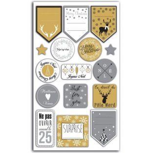 16 stickers pour emballages cadeaux argent et doré - Joyeux Noël