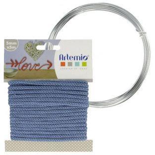 Hilo para tejer azul 5 mm x 5 m + hilo de aluminio