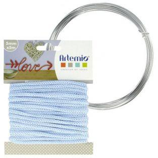 Hilo para tejer azul claro 5 mm x 5 m + hilo de aluminio