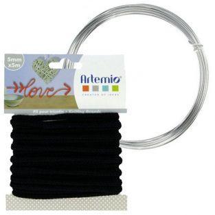 Hilo para tejer negro 5 mm x 5 m + hilo de aluminio