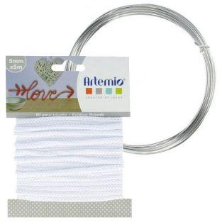 Hilo para tejer blanco 5 mm x 5 m + hilo de aluminio