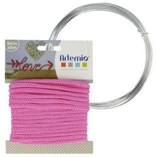 Hilo para tejer fucsia 5 mm x 5 m + hilo de aluminio