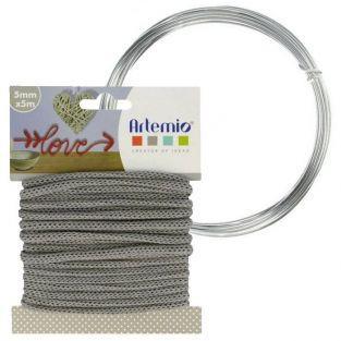 Hilo para tejer gris 5 mm x 5 m + hilo de aluminio