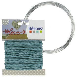 Hilo para tejer azul turquesa 5 mm x 5 m + hilo de aluminio