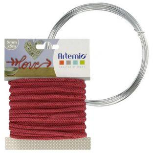 Hilo para tejer rojo 5 mm x 5 m + hilo de aluminio