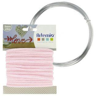 Fil à tricotin rose 5 mm x 5 m + fil d'aluminium