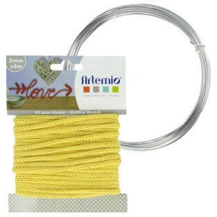 Hilo para tejer amarillo 5 mm x 5 m + hilo de aluminio