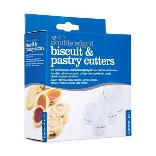 7 cortadores de galletas redondos con borde estriado - plástico