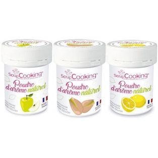 Kit 3 aromas alimentarios naturales en polvo - Manzana-pistacho-limón