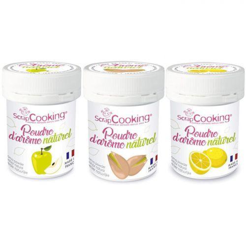 3 natural food flavoring powders - Apple-pistachio-lemon