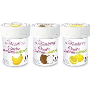 3 natural food flavoring powders - Banana-coconut-lemon