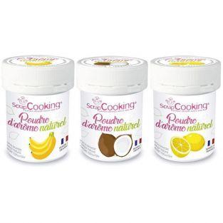 Kit 3 arômes alimentaires naturels en poudre - Banane-coco-citron