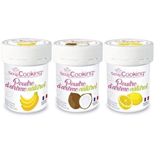 Kit 3 aromas alimentarios naturales en polvo - Plátano-coco-limón