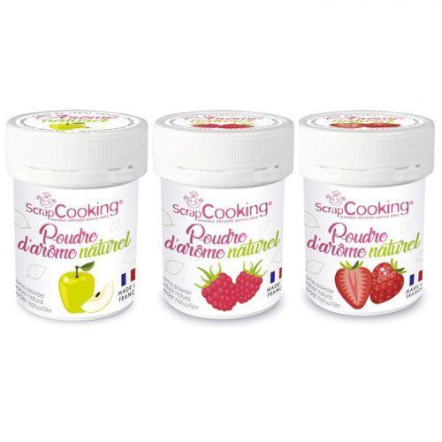 Kit 3 arômes alimentaires naturels en poudre - Fraise-pomme-framboise
