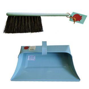 Vintage shovel and brush set - blue