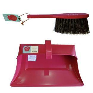 Vintage shovel and brush set - red