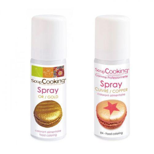 2 sprays alimentaires doré et cuivré - 50 ml