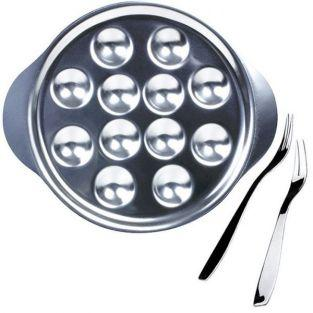6 fourchettes à escargots + 6 assiettes à 12 empreintes