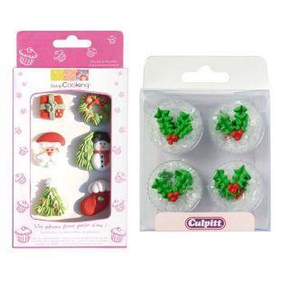 12 décorations en sucre de Noël - décors de Noël et houx