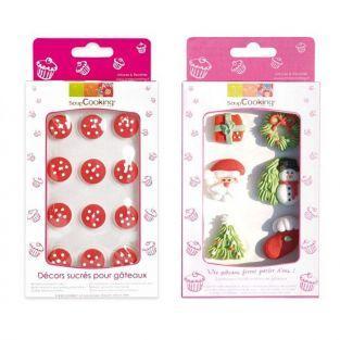 12 decoraciones de azúcar navideñas y setas