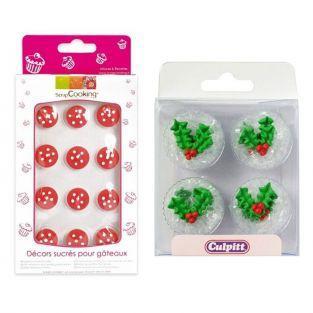 12 décorations sucrées de Noël - champignons et houx