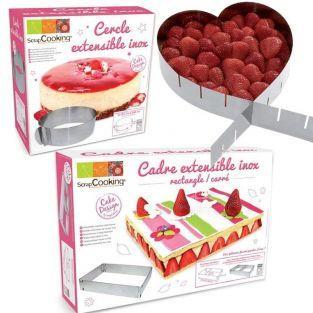 3 adjustable cake rings - heart, circle & rectangle
