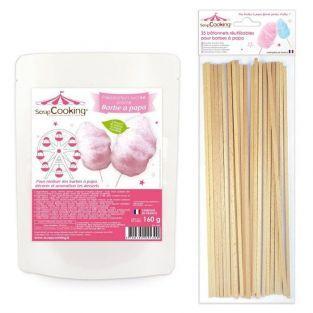 Preparación para algodón de azúcar rosa 160 g + 25 palillos de madera