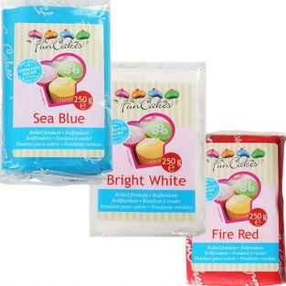 Sugar paste kit France - blue-white-red - 750 g