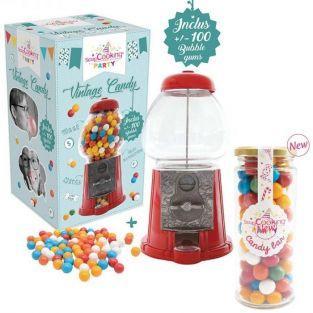 Distributeur de bonbons vintage + recharge bubble gums 300 g
