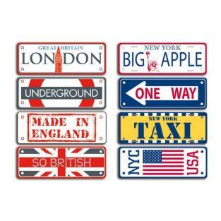Mini placas de metal Londres y Nueva York 14 x 21 cm