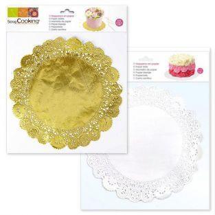 Mantelitos blancos y dorados Ø 26,5 cm