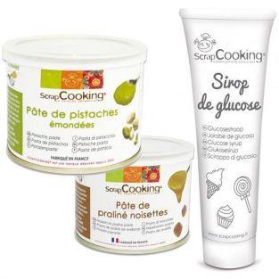 Pasta de pistacho + pasta de avellana + jarabe de glucosa