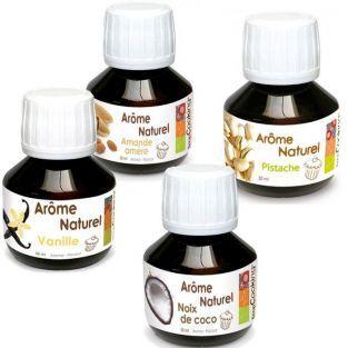Kit 4 arômes alimentaires naturels pour pâtisserie - amande-vanille-coco-pistache