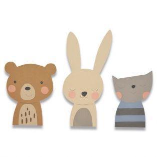 Thinlits Cutting die for Sizzix - Rabbit, Cat, Teddy bear