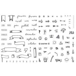 Set 30 tampons transparents pour Bullet journal