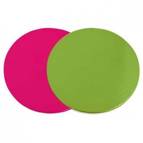 6 supports à gâteaux ronds rose-vert Ø 24 cm
