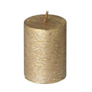 Cylindrical golden candle with frosted aspect Ø 3.8 x 5 cm