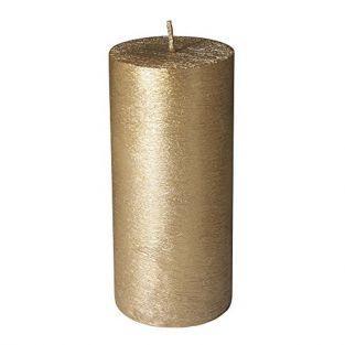 Bougie cylindrique aspect givré doré Ø 7 x 15 cm