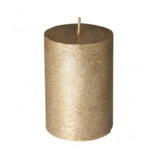 Bougie cylindrique aspect givré doré Ø 7 x 10 cm