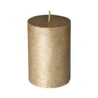 Cylindrical golden candle with frosted aspect Ø 7 x 10 cm