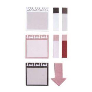 8 mini bloques de 30 notas adhesivas - blanco, rojo, negro