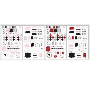 Stickers pour Bullet journal 4 planches - blanc, rouge, noir