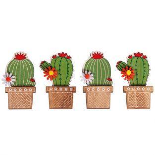 4 pegatinas de madera Cactus 6,1 cm