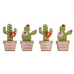 4 autocollants en bois Cactus 6,5 cm