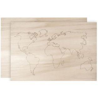 Mapamundi de madera para decorar 42 x 29,7 cm